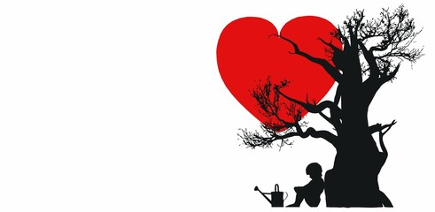 Child under a tree with heart