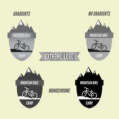 Set of mountain bike camping logo badge and banner. Bicycle