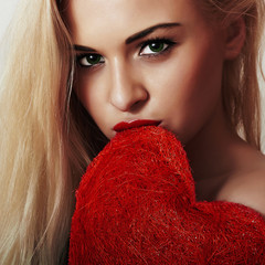 beautiful young woman.blond girl.Valentines day Heart