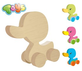 wooden duck on wheels