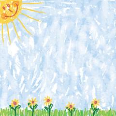Sommerlicher Hintergrund, Sonne, Himmel, Gras, Blumen, Zeichnung