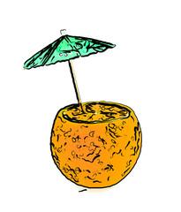 Orange with umbrella