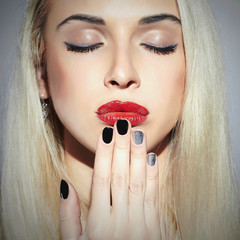 make-up face.Beautiful blond young Woman.Beauty salon manicure
