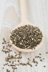 chia seeds in a spoon on wooden surface
