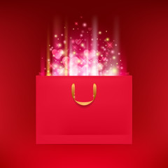 Blank red paper bag with hearts and glow.
