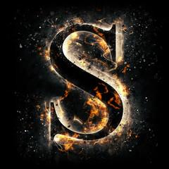 Fire alphabet. Letter S.