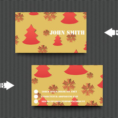 Business card template with winter background.