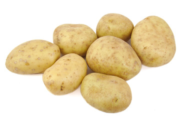 Bunch of potatoes on white background.