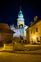 On the castle in Cesky Krumlov, Czech Republic