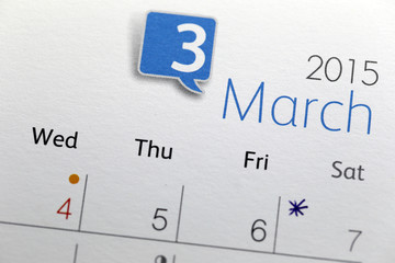 Text on calendar show in monthly of 2015.