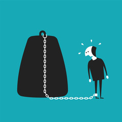 Chained businessman vector concept in flat cartoon style