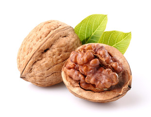 Walnuts with leaf in closeup