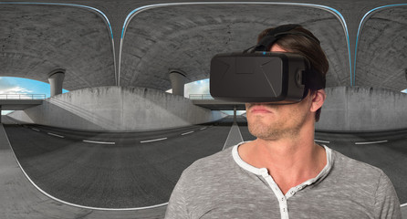 Mann mit 3D VR Cyberbrille 5