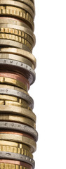 tower of different euro coins in close up shot
