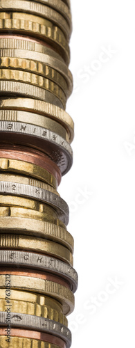 canvas print picture tower of different euro coins in close up shot