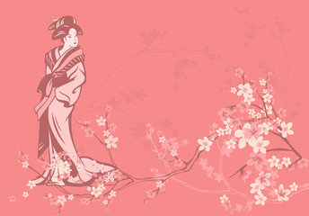 spring background with Japanese geisha and sakura flowers