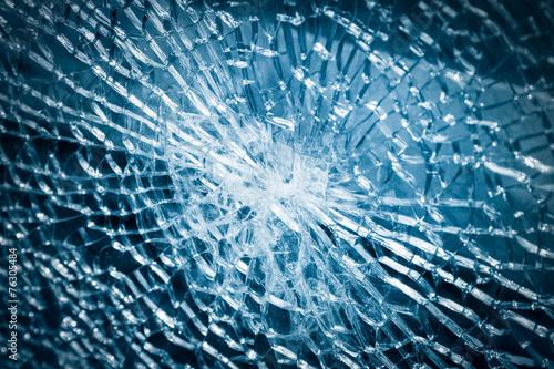 broken tempered glass closeup