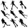 Set silhouettes of divers. - 76305637