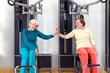 Happy Old Women at the Gym Touching by Palms.
