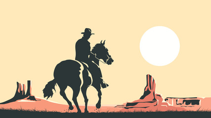 Horizontal cartoon illustration of cowboy in prairie wild west.