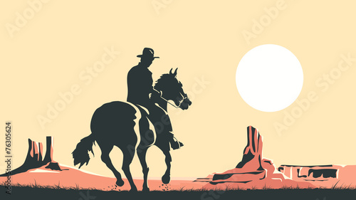 Horizontal cartoon illustration of cowboy in prairie wild west. - 76305624