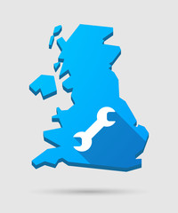 UK map icon with a wrench