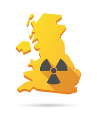 UK map icon with a radio activity sign