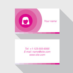 Modern business card template in pink color
