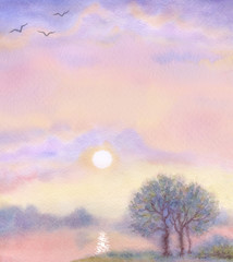 Watercolor landscape background. Morning over lake