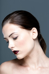 Beauty portrait of attractive woman with closed eyes
