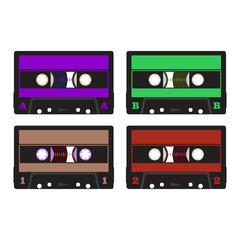 colorful retro audio cassettes