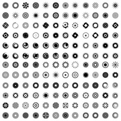 Design elements in circle shape. 144 abstract icons.