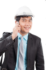 engineer man talkin on mobile phone and smiling with happy emoti