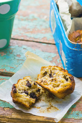 banana muffins with slices of chocolate