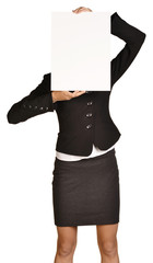 Business woman in a suit and skirt covering her face white