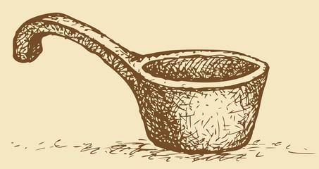Vector picture. Old wooden scoop