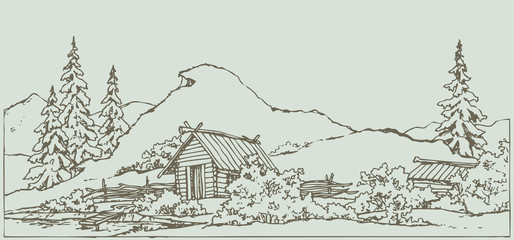Vector drawing. Ancient rural landscape