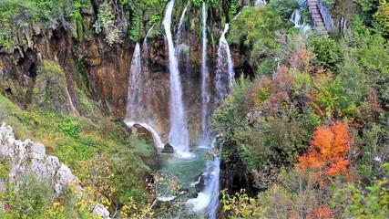 Plitvice Lakes Waterfall in Autumn