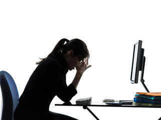 business woman headache tired problems silhouette