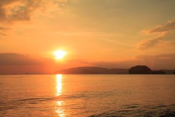 Sunset on the calm sea