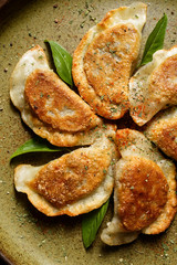Baked dumplings filled with mushrooms and cabbage