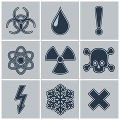 Icon set of warning symbols.