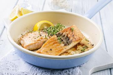 Roasted Salmon in Pan