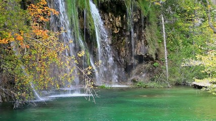 Waterfall and Small Lake in Autumn