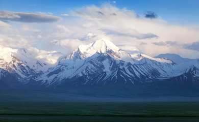 Beautiful evening view from Pamir mountain