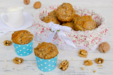 Banana muffins with oatmeal and nuts