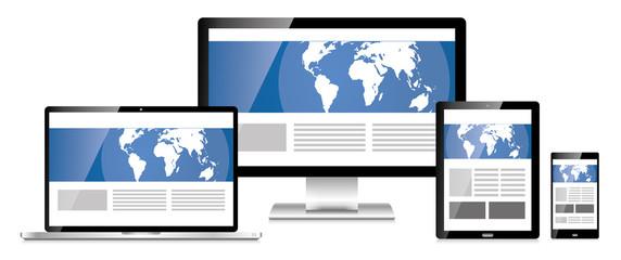 Responsive Webdesign Design Smartphone Tablet PC Weltkarte