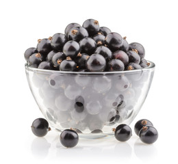 bowl with black currant isolated
