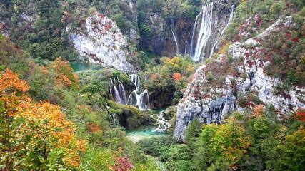 Plitvice Lakes Waterfalls in Autumn