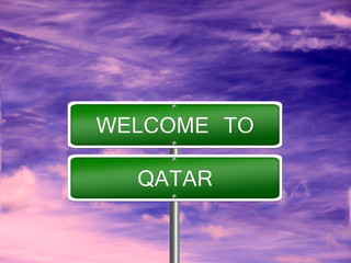 Qatar Welcome Travel Sign